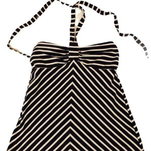 Loft Navy blue and white striped halter top